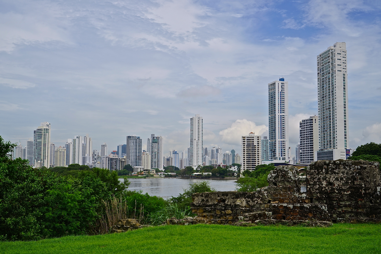 A view over the modern part of the Panama city from the place of the ruins of the old town, originated 500 years ago.
