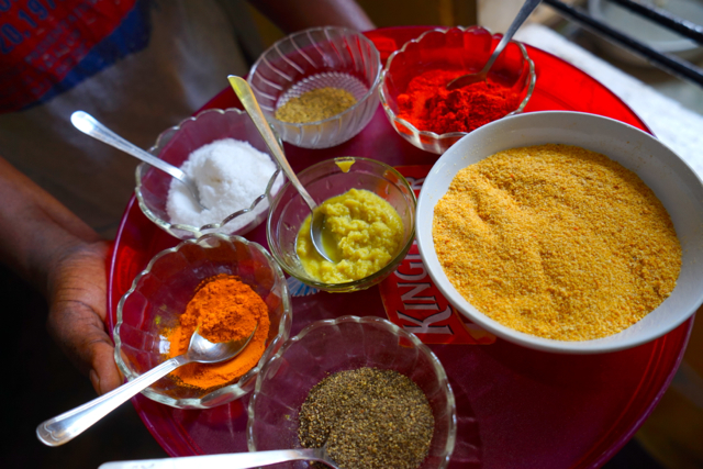 SPICES! 1 tsp ginger paste 1 tsp garlic paste 1/2 tap garam masala 1/2 tsp termaric powder  salt breadcrumbs