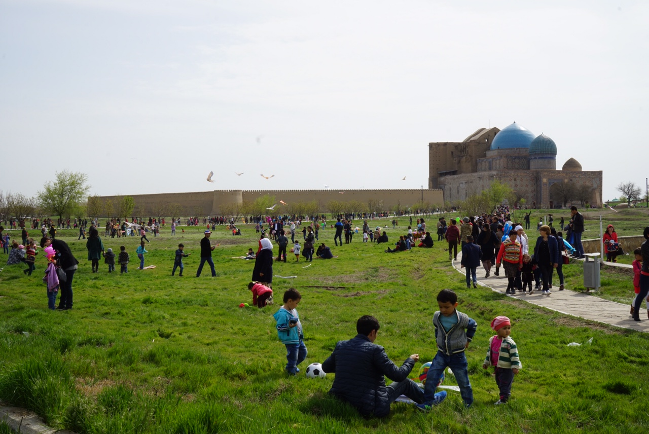 Children launching kites